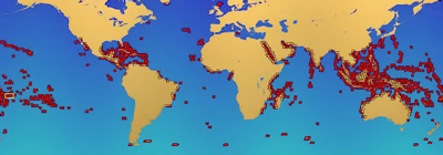 Distribution of coral reefs (NASA)
