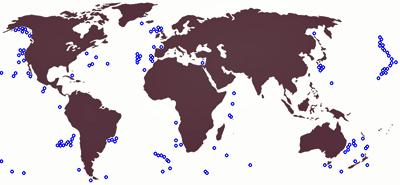 Locations of major seamounts (Wikipedia)
