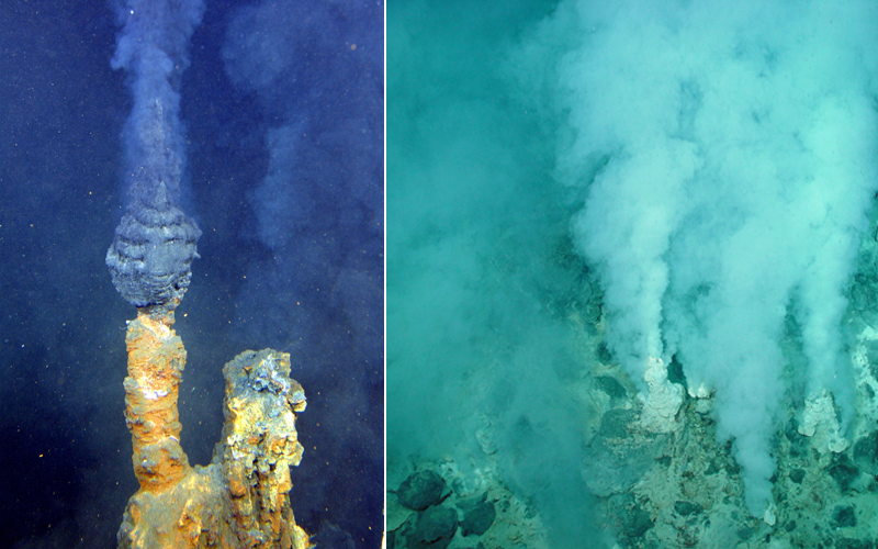 Left: Black smoker; Right: white smoker (both courtesy of NOAA)