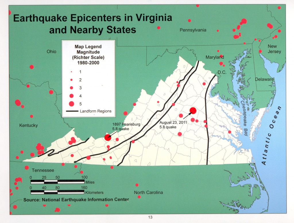 Epicenters for August 23, 2011 Mineral quake and 1897 Pearisburg quake